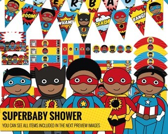 African American Superhero Baby Shower Decorations Package. Printable Comic Book Decor. Afro-American Superbaby Shower. Digital Download