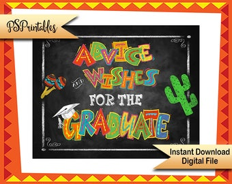 Mexican Fiesta Party Decoration   PRINTABLE Graduation Sign, Fiesta Graduation, Advice Wishes for the Graduate, Graduation Party Decorations