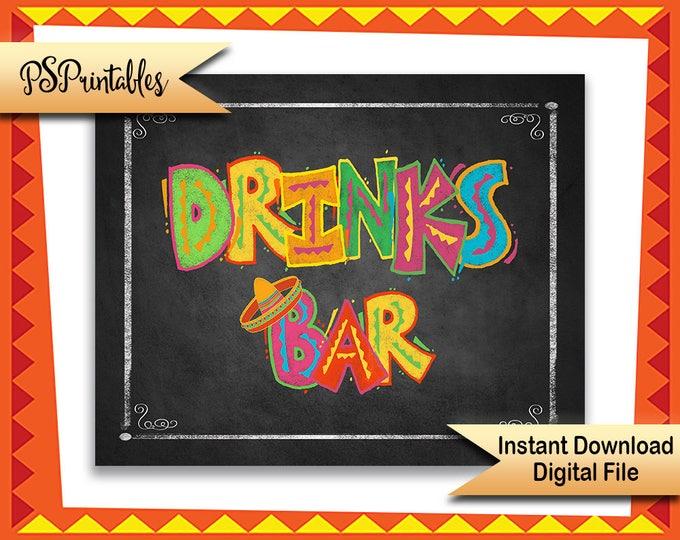 Fiesta Bar sign, DIY Printable Fiesta sign, Drinks bar sign, wedding bar sign, party bar sign, mexican birthday fiesta, fiesta decoration