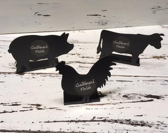 Chalkboards/Animal Chalkboard/Barn Wedding/Farm Wedding/Wedding/Mini Signs/Rooster/Cow/Pig /Party Supplies/Chalk Signs/Luau