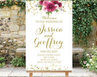 Printable Wedding Welcome Sign Choose a Seat Not a Side Burgundy Gold or Silver Confetti Digital Sign pdf jpg Burgundy Flowers The Tatiana
