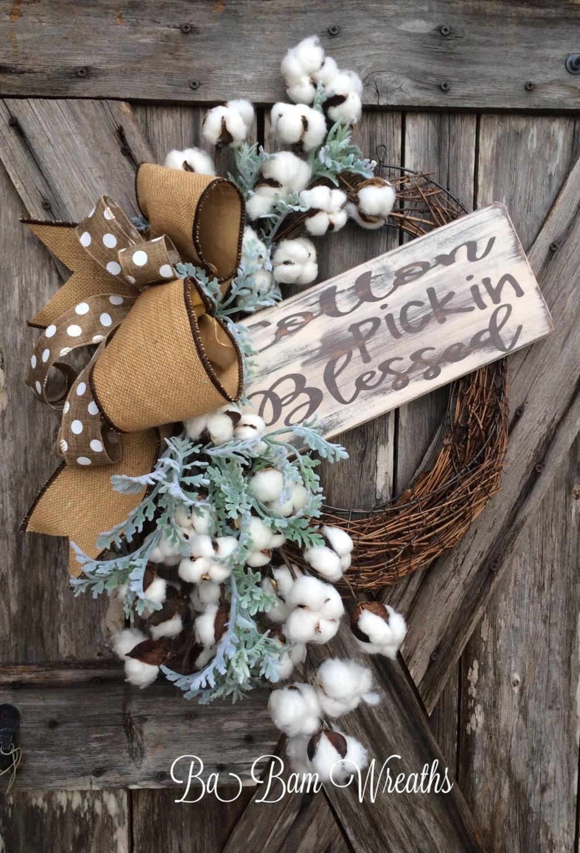 Cotton Wreath Everyday Wreath All Season Wreath Door