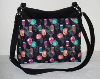 Lanterns Messenger Bag, Beautiful, Cross body adjustable, pocket, Black & multi Chinese lanterns cotton fabrics, Purse Handbag handmade gift