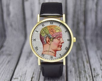 Picture of a Good Health Human Head | Illustration | Anatomy | Classic | Phrenology | Ladies Watch | Men's Watch | Gift Ideas | Accessories