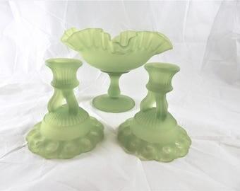 Westmoreland Glass Console Set Avocado Satin Green Glass