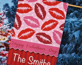 Personalized Valentines House Flag,