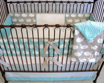 Teal & Taupe Whale baby bedding set: Ahab