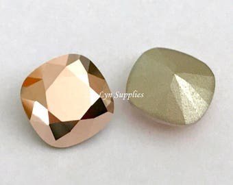 4470 ROSE GOLD 12mm Swarovski Crystal Fancy Stone Cushion Cut, 2 pieces or 6 pieces