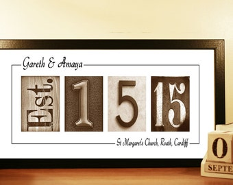 Wedding Gift Idea, Wedding Date Sign - Unframed Personalized Gift
