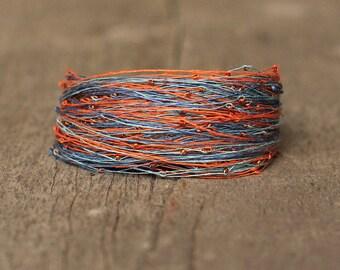 Colorful Bracelet, Natural Linen Armband, Multicolor Bracelet Blue Orange, Gift for Girlfriend, Magnetic Bracelet, Organic Gift
