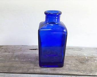 Vintage Cobalt Blue Bottle Square with Flared Finish Heavy Cobalt Bottle Side Seams to Lip