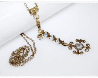 Vintage Romancé bronze bronce necklace romancé cross Renaissance Historicism romance