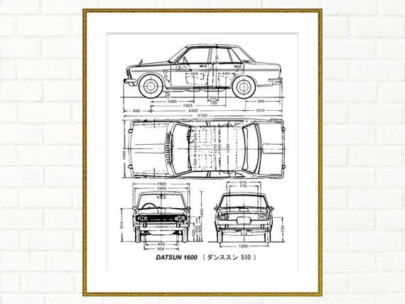 Datsun 1600 4-Door Blueprint Datsun 510 Blueprint Art