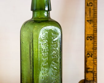 Green glass bottle Aromatic schnapps - Udolpho Wolfes Schiedam, antique, collectable, vintage
