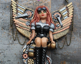 Steampunk necklace / Angel necklace / Steampunk angel / Statement necklace / Large necklace / Bib necklace / Polymer clay necklace