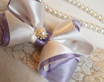 Baby headband with bow/| stretch headband | Newborn Big Bow Headband | PURPLE and white girl Headband
