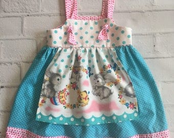 Easter Bunny Dress, Boutique Baby Dress, Knotted Girls Easter Dress, Vintage Style Apron Dress, Vintage Rabbit Easter Dress, Tunic Top