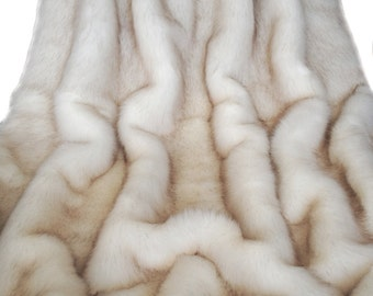 """Exquisite Arctic/Blue Fox Faux Fur Throw/Blanket, White with Brown Tips, Soft, Large, 60"""" X 72"""", Limited Edition, Made in Canada"""