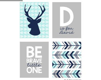 Light Aqua Navy Grey Deer Boy Personalized Nursery art prints, Monogram, Be brave little one Set of 4 8x10 ( NPHO810105 )