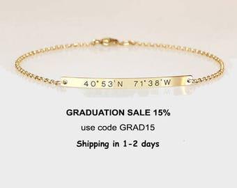Graduation gift for her, Engraved bracelet with coordinates,Reversible bracelet, Location Longitude Latitude bracelet 2 sides engraved, GPS