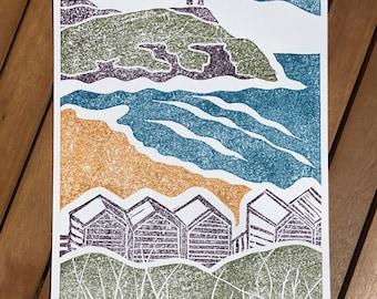 Bude, Cornwall. Original lino- cut print. Limited edition.