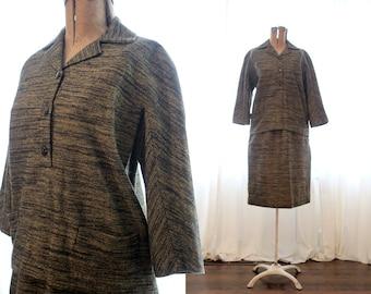 Dark marled wool blouse sweater top skirt set beige and black vintage 1960s 60s medallion brand casual suit