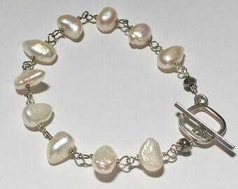 Pearl bracelet, baroque pearl bracelet, June birthstone, wedding bracelet. pearl and sterling silver bracelet, bridal pearl bracelet