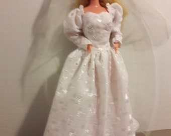 """B 068  1890's Inspired Wedding Gown and Veil for Barbie and other 11 1/2"""" fashion dolls"""
