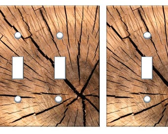 Brown Wood Light Switch Plate Cover log slice image // SAME DAY SHIPPING**