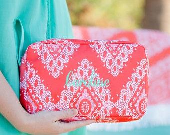 Coral Cove Monogrammed Cosmetic Bag  | Monogrammed Toiletry Bag | Monogrammed Makeup Bag | Personalized Travel Cosmetic Bag |Bridesmaid Gift