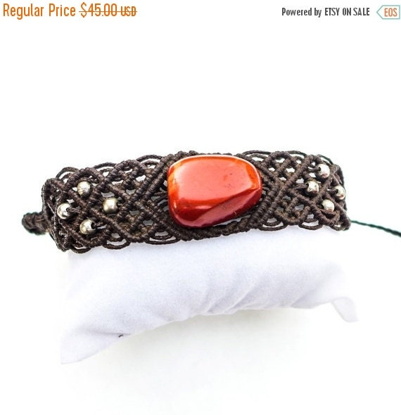 Black Friday Sale Red Jasper Macrame Bracelet Wide By