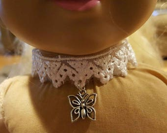 """Handmade Lace Choker Necklace with Butterfly Charm for 18"""" doll like American Girl"""