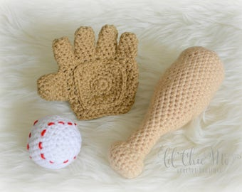 Baby Baseball Glove, Ball & Bat Set/Stuffed Toy/Baseball Crochet Photo Prop/Baby Gift