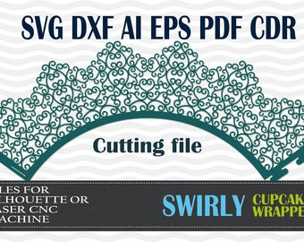 Cupcake Wrapper swirly SVG DXF AI eps pdf cdr cutting files Silhouette Studio, laser machine, party wedding decoration, template