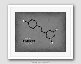 Red Wine Molecule, Chemistry Art Decor, Science Nerd Gifts, Resveratrol Wall Art