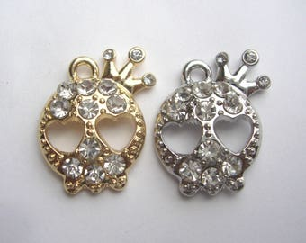 Skull with Crown Charm,Gold or Silvertone