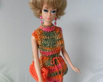 """Crochet Barbie Clothes Handmade Barbie Doll Clothes Variegated 60s Mod Pants Set Unique Modest 11.5"""" Fashion Doll Clothes"""