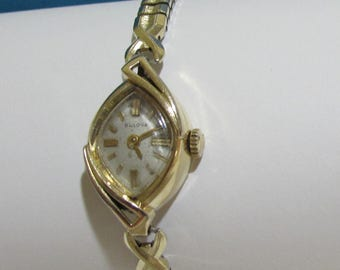 Ladies Bulova 21 Jewels Watch ~ Tear Drop Crystal ~10K Rolled Gold Plated ~Wind Up Mechanical Movements Good Running Condition~FREE SHIPPING