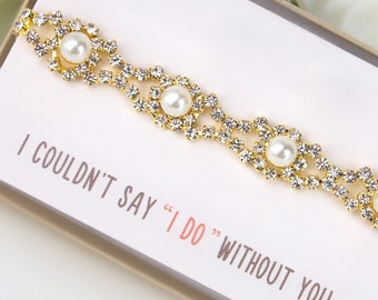 Wedding Jewelry Bridal Jewelry Ivory Pearl Bridal Bracelet Wedding Gift Bridal Bracelet Bridal Party Jewelry Gold Bracelet B158G