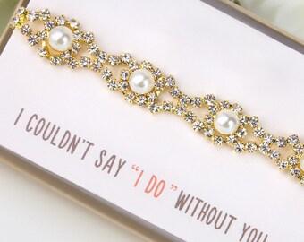 Wedding Jewelry Bridal Jewelry Pearl Bracelet Wedding Gift Bridal Bracelet Bridal Party Jewelry Gold Bracelet Bridal Accessories B158-G2