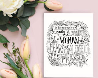 Printable coloring page of Proverbs30:31,Printable Bible Verse Coloring Page,Inspirational Quotes,DIY,Instant download,wallart,adultcoloring