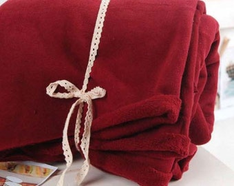 Brushed French Baby Terry Knit Fabric Deep Red By The Yard