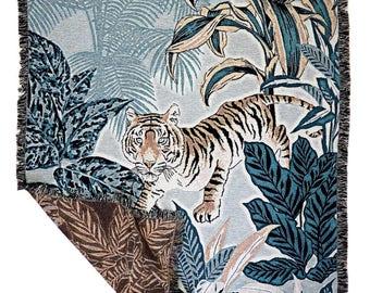 Tiger throw, Woven Blanket, Jungle plants jacquard throw