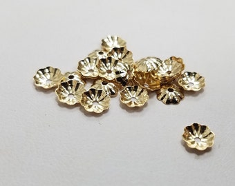 Gold Filled 14K Flower Bead Cap, 5mm, Made in USA