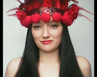 Red Rose Floral Feather Festival Headdress