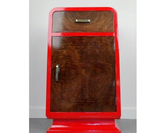 Nightstand Bedside Table Mid Century Modern Night Stand Wood Red Bedroom Living Room Furniture Drawers Storage Cabinet Rustic Elegant Brass