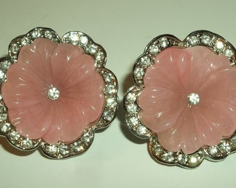 Vintage Kenneth Jay Lane KJL for AVON  Pink Lucite Rhinestone Clip Earrings.