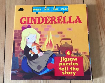 Vintage 1980s Cinderella Press Out and Play Children's Jigsaw Puzzle Book!