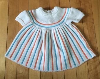 Vintage 1960s Baby Infant Girls White Stripe Knit Dress! Size 0-3 months