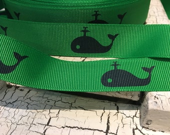 "7/8"" Preppy NAUTICAL NAVY WHALE on Green Grosgrain Ribbon sold by the yard"